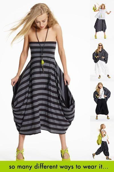 The Convertible One in Black/Grey Stripe Danube (Dress)