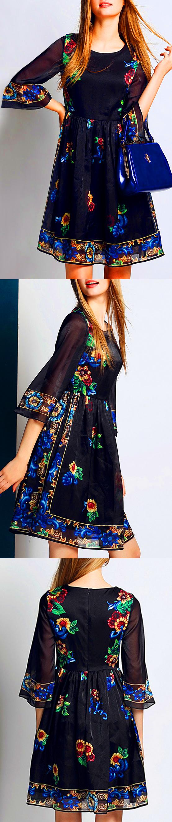 Flowers print sleeve a line dress summer dresses pinterest