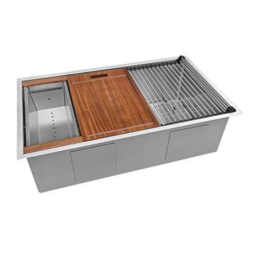 Ruvati 32 Inch Workstation Ledge Tight Radius Undermount Https Www Amazon Stainless Steel Kitchen Sink Single Bowl Kitchen Sink Undermount Kitchen Sinks 16 gauge undermount stainless steel sink