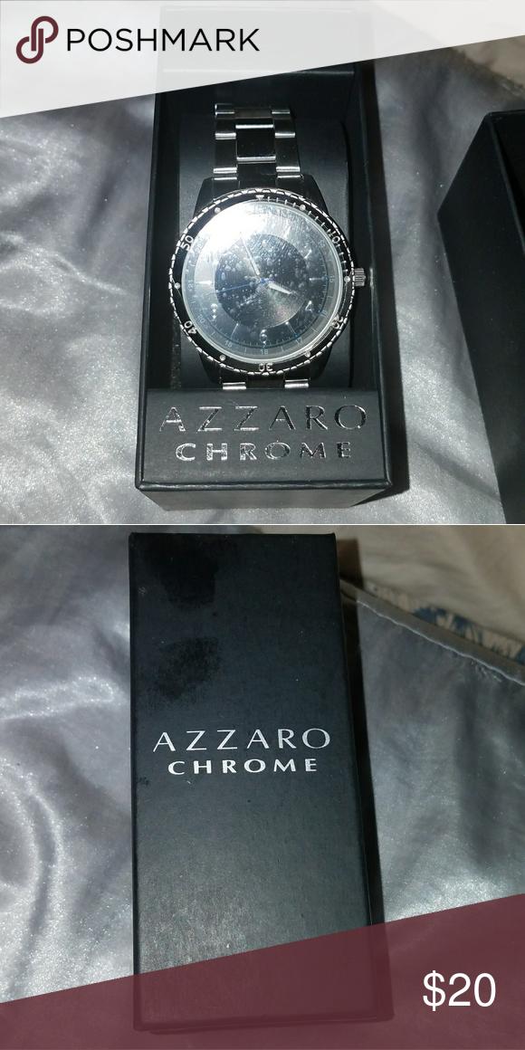 Azzaro Men's Watch Sterling Back Silver Chrome NnvPymO80w