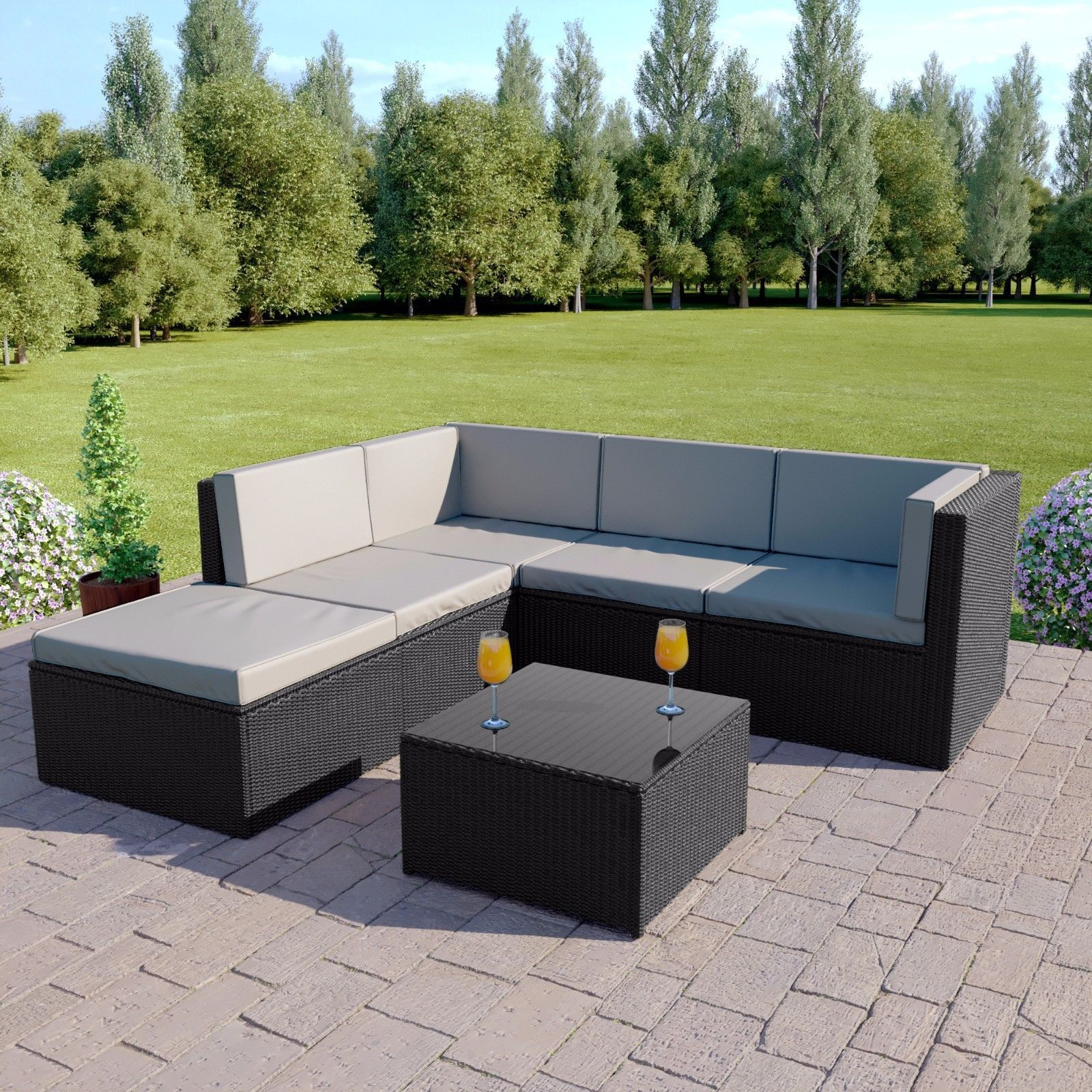 Details About Black Rattan Modular Corner Sofa Set Garden Furniture L Shape Free Cover In 2020 Corner Sofa With Cushions Rattan Corner Sofa Corner Sofa Set