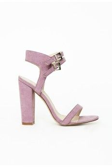881128db6211 Double Strap Block Heeled Sandals Lilac Faux Suede