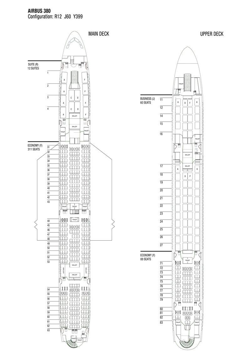 Airbus A380 Aircraft Seating Chart Seating Plan Airbus A380