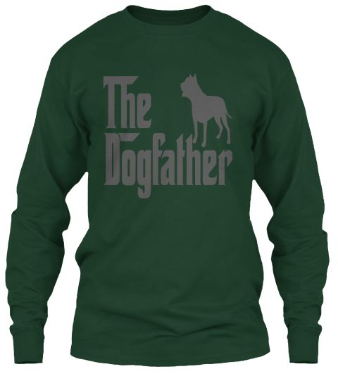 Dogs Lover Dad Father's Day T Shirt Forest Green T-Shirt Tay Dài Front