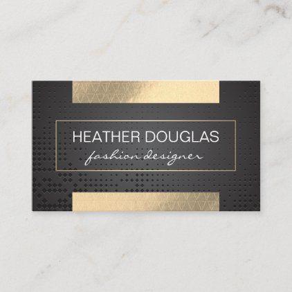 Gold Foil Shine Triangle Pattern Black Metallic Business Card Zazzle Com Triangle Pattern Elegant Business Cards Beautiful Business Card