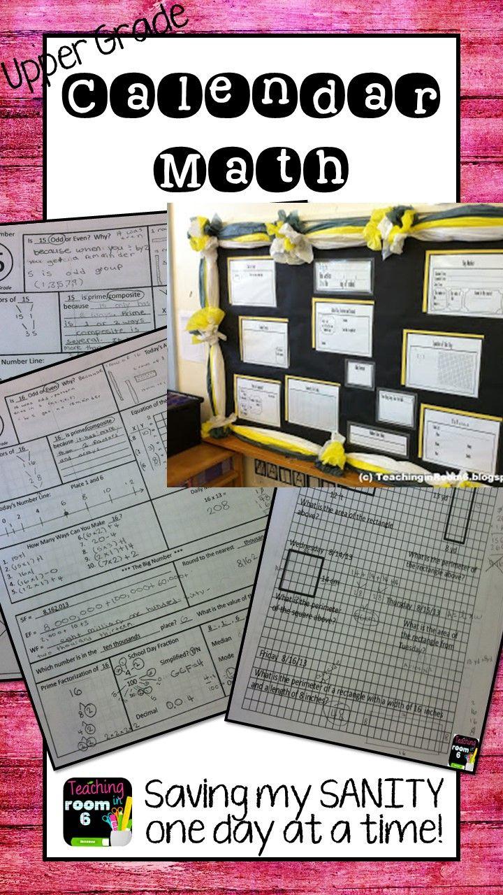 Calendar Math For The Upper Grades Th Grade Starter Kit  Daily