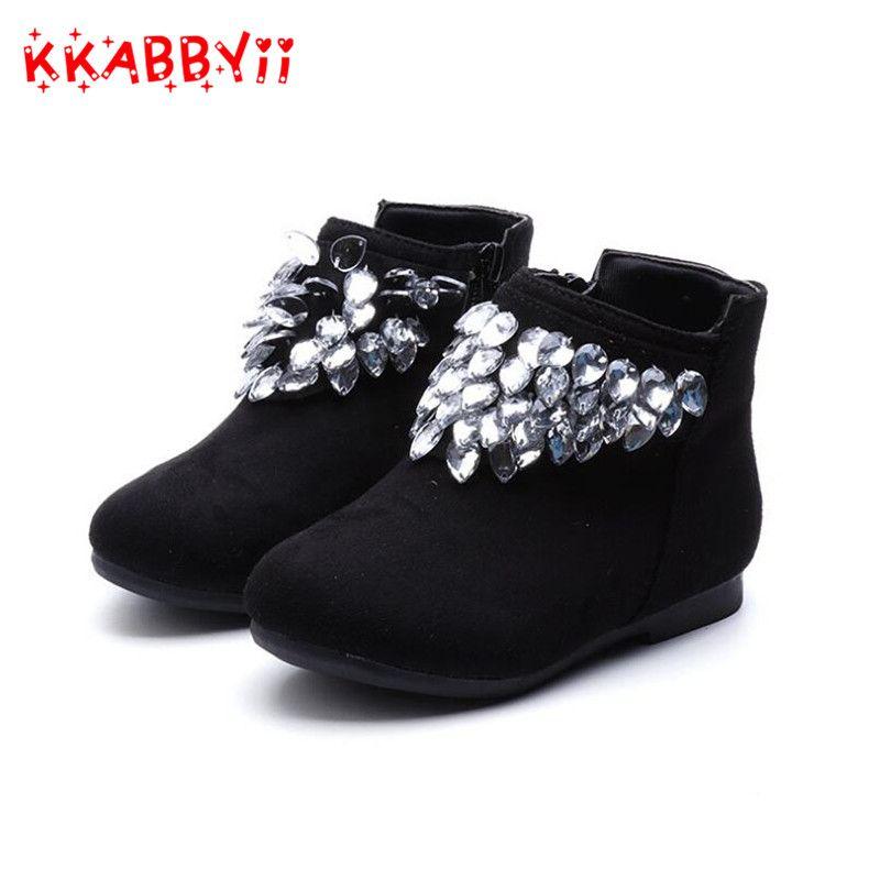Dzieci Moda Buty Zimowe Dla Dziewczyn Pluszowe Buty Sniegu Rhinestone Antyposlizgowe Czerwony Czarny Dzieci Buty Sportowe T Childrens Shoes Wedge Sneaker Shoes