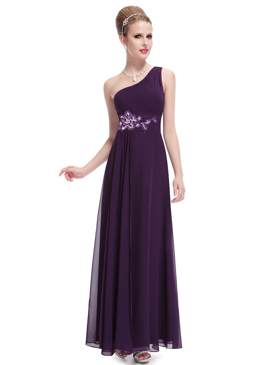 One Shoulder Floor Length Purple Chiffon Sheath-Column Evening Dress Oedev264