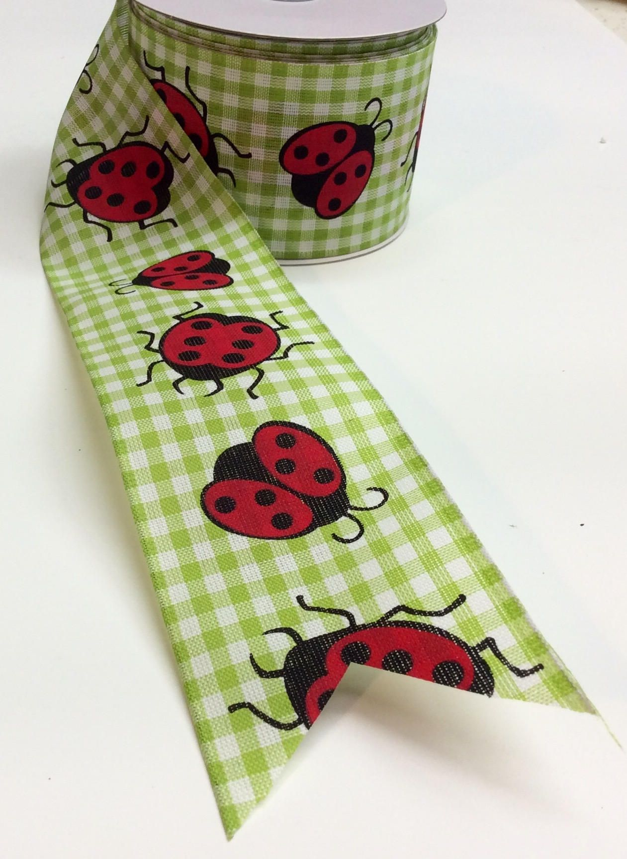 """2.5"""" Lady bug Lime and White Gingham Check Ribbon 5"""