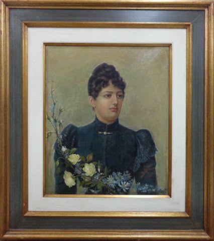 """BENEDITO CALIXTO, óleo sobre tela, """"Retrato da Baronesa de Mamanguape"""", medindo 52 x 64 cm. Acompanha certificado de autenticidade. http://goo.gl/GG9THA"""