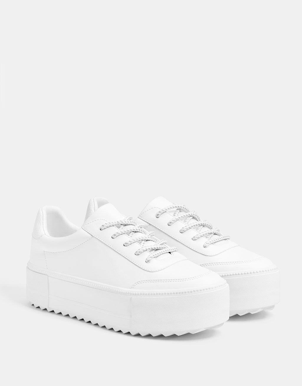 bershka white platform sneakers