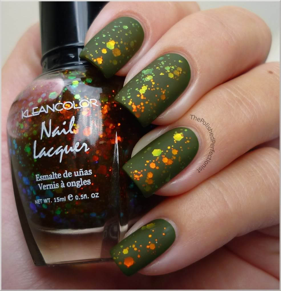 Two coats of Zoya - Shawn, one coat of Kleancolor - Chunky Holo ...