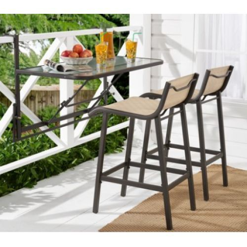 3-Piece Outdoor Bar Set w/Fold-Down Table