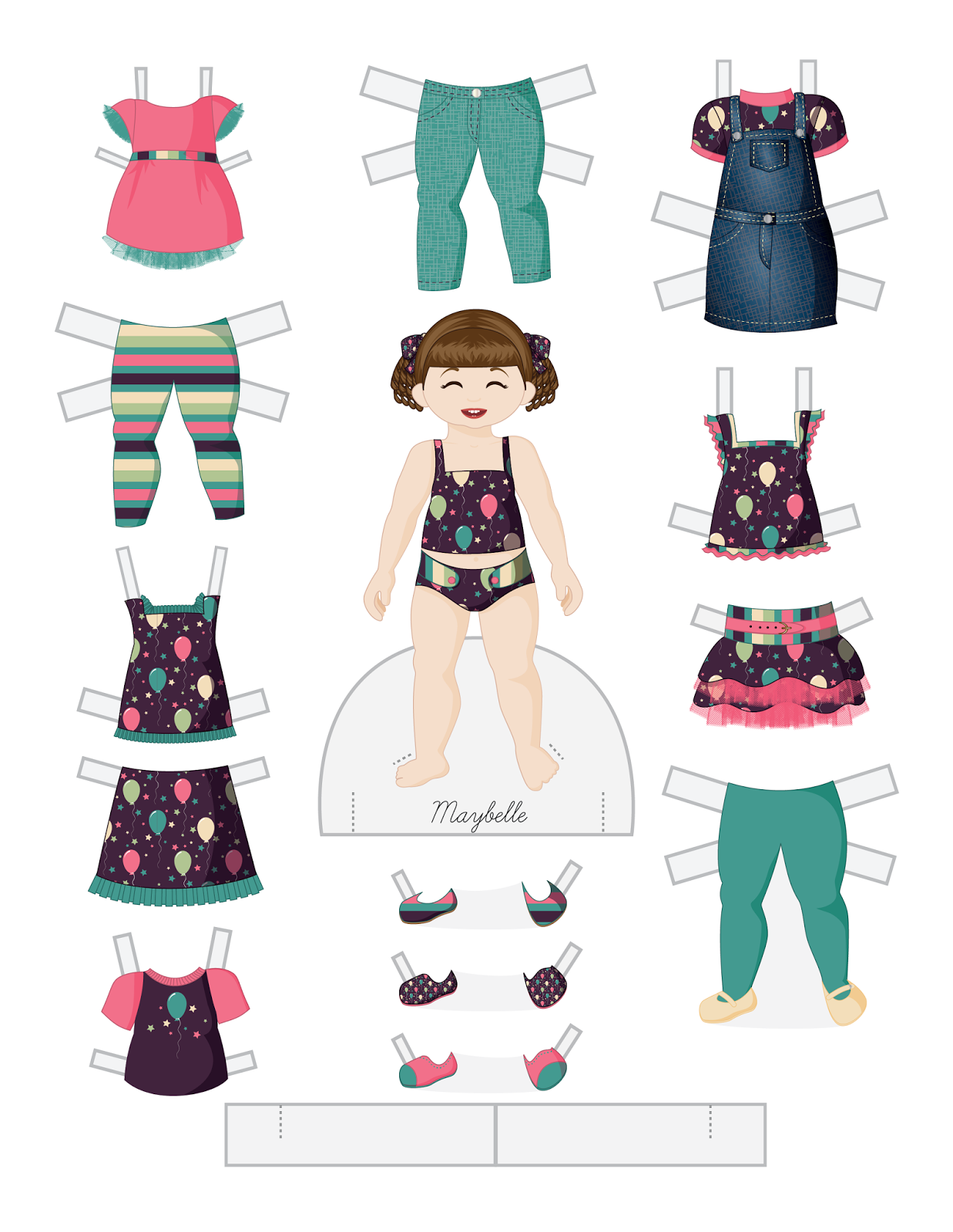 Paper dolls by Julie Allen Matthews. A birthday themed toddler paper doll to print & cut out!