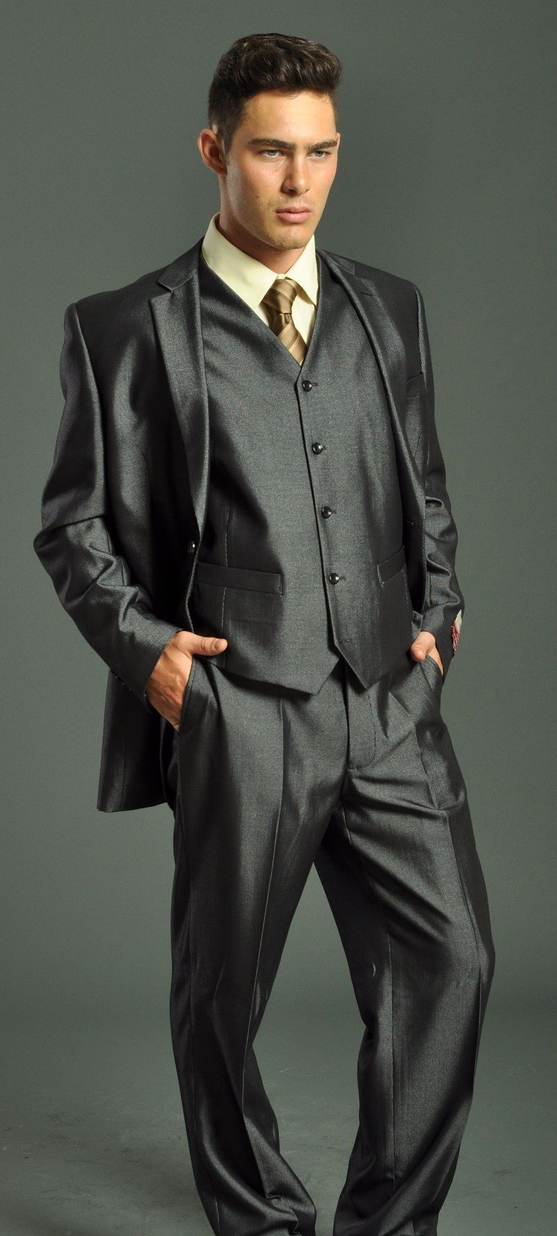 vested suit | Men's Two Button Vested Charcoal Suit: Men's Suits ...