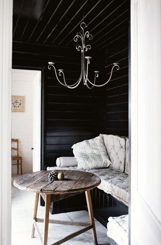 black painted bead board!!