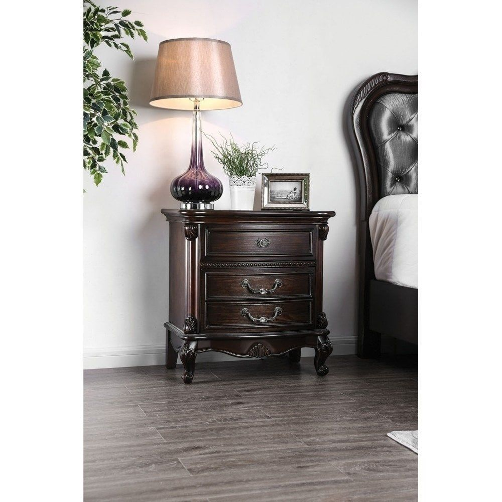 Traditionally Designed Solid Wood Nightstand with Three