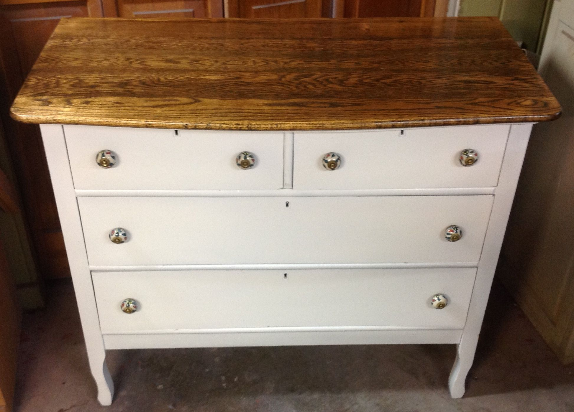 Hand rubbed oil finish on top. Painted bottom with milk paint  $189 Reliks.net