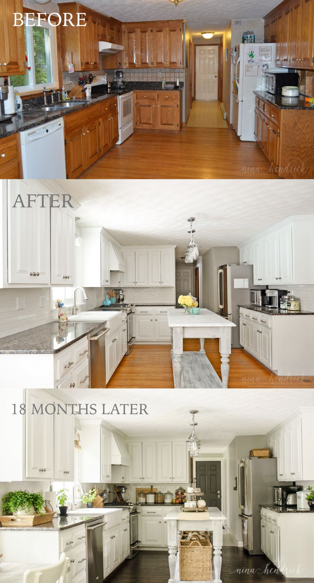 White painted kitchen before after  months later by nina hendrick also how to paint oak cabinets and hide the grain house design ideas rh pinterest