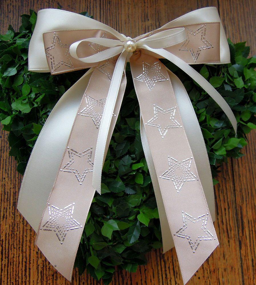 Weihnachtsschleifen Creme Taupe Silber Sterne Christbaumschmuck