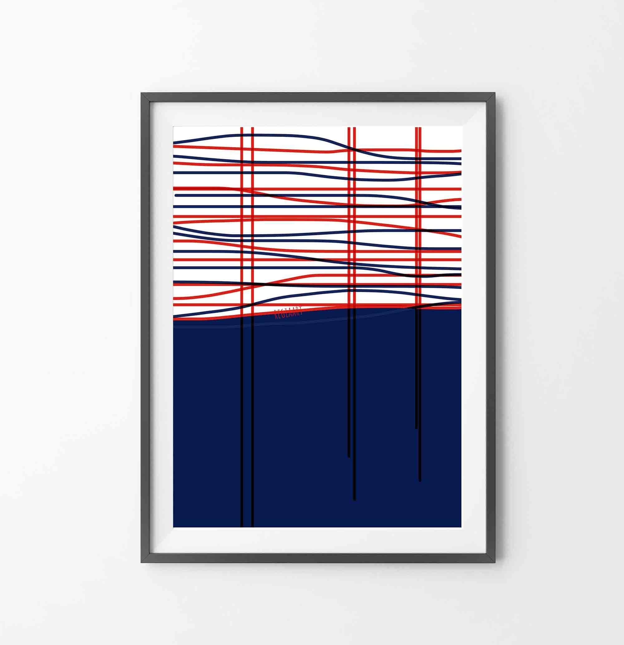 RegiaArt Home Decor Printable Abstract Art Geometric Art Digital Drawing Line Art Print Red Blue Line Wall Art Instant Download