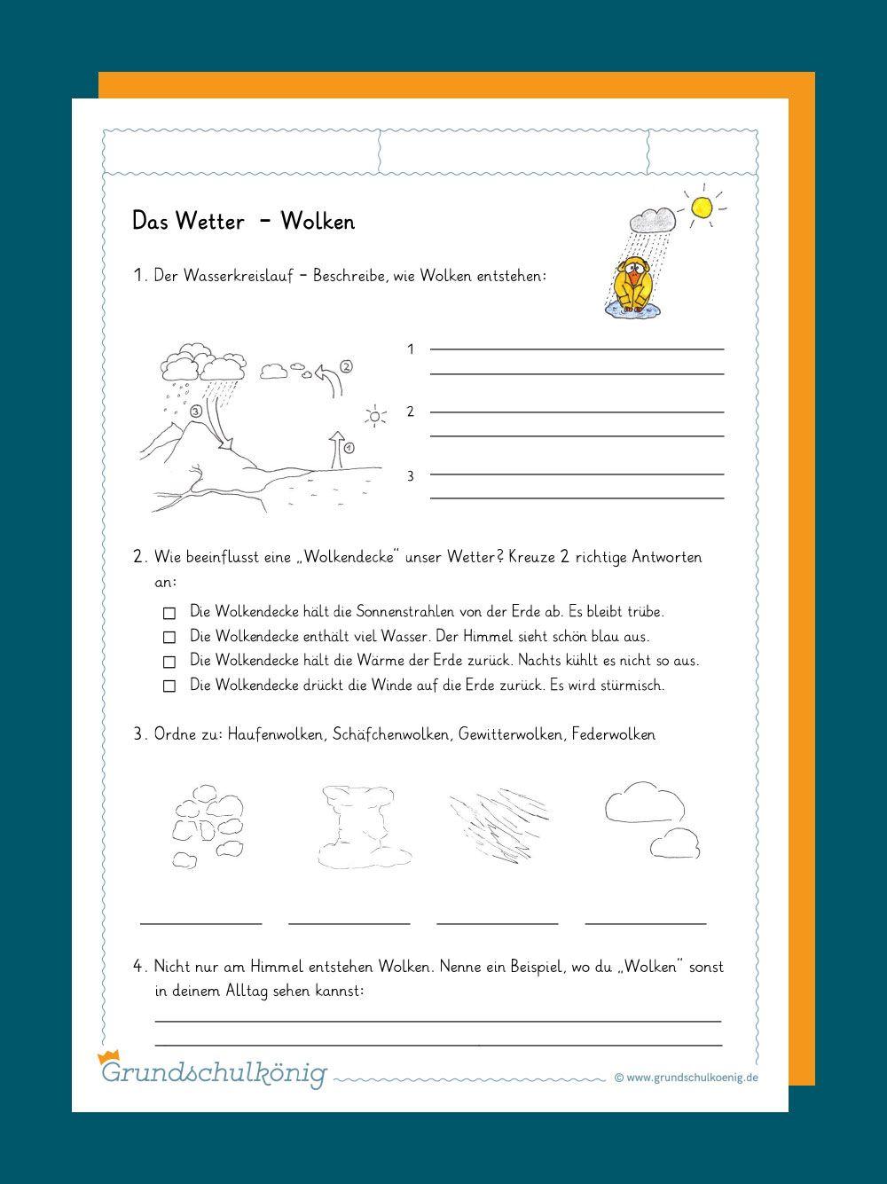 Kostenlose Arbeitsblatter Zum Thema Wetter Und Klima Fur Den Sachunterricht In Der Grundschule Wetter Und Klima Lernen Tipps Schule Sachunterricht Grundschule