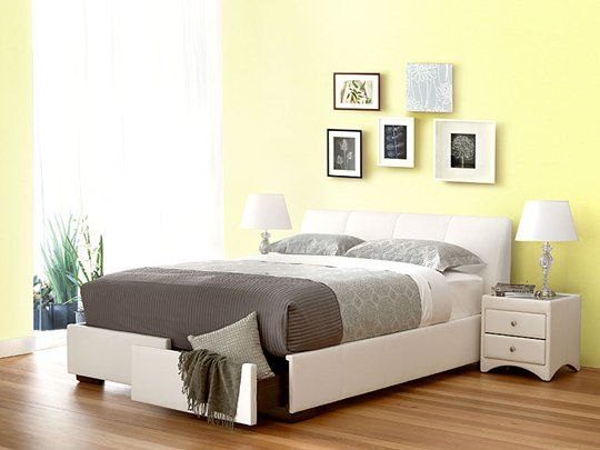 kenton queen bed frame with 2 drawers features leather headboard two conveinent storage