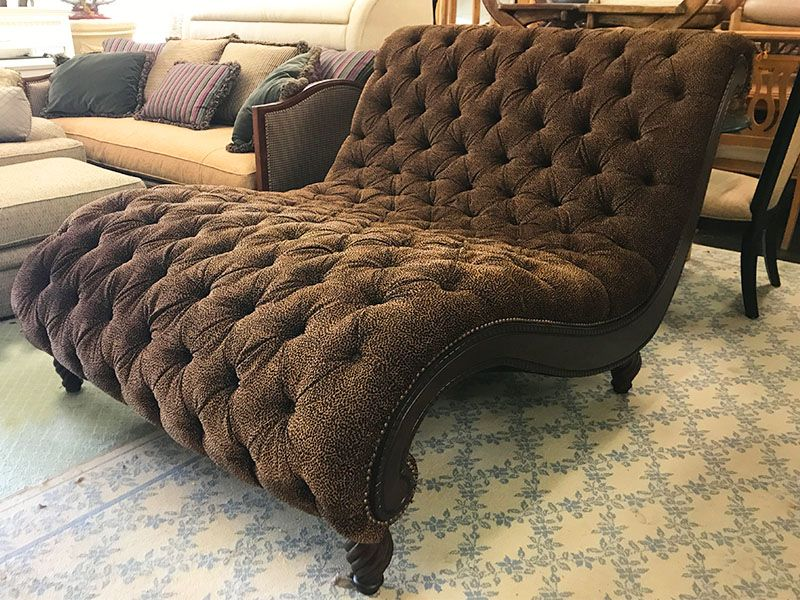 Leopard Print Double Chaise Lounge 55 In Wide X 75 Long 43 Tall