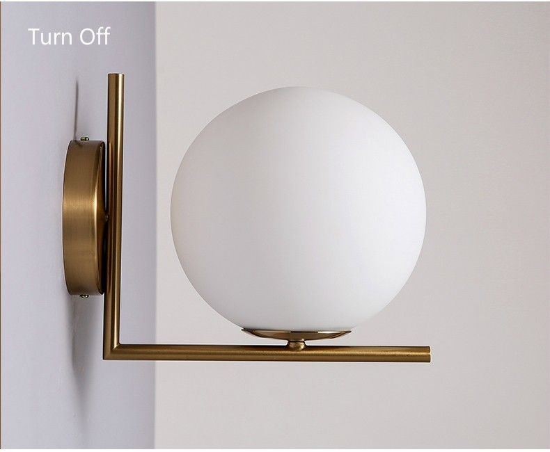 Hot New Simple Postmodern Style Wall Lamp Glass Ball Lamp Lampen Wall Light Art Deco Lampe Post Moder Wall Lamps Bedroom Indoor Wall Lights Indoor Wall Sconces