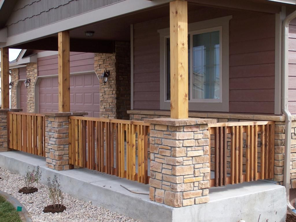 Square Columns Stone Veneer Bases Porch Cedar Products Image Gallery Patio Remodel Design