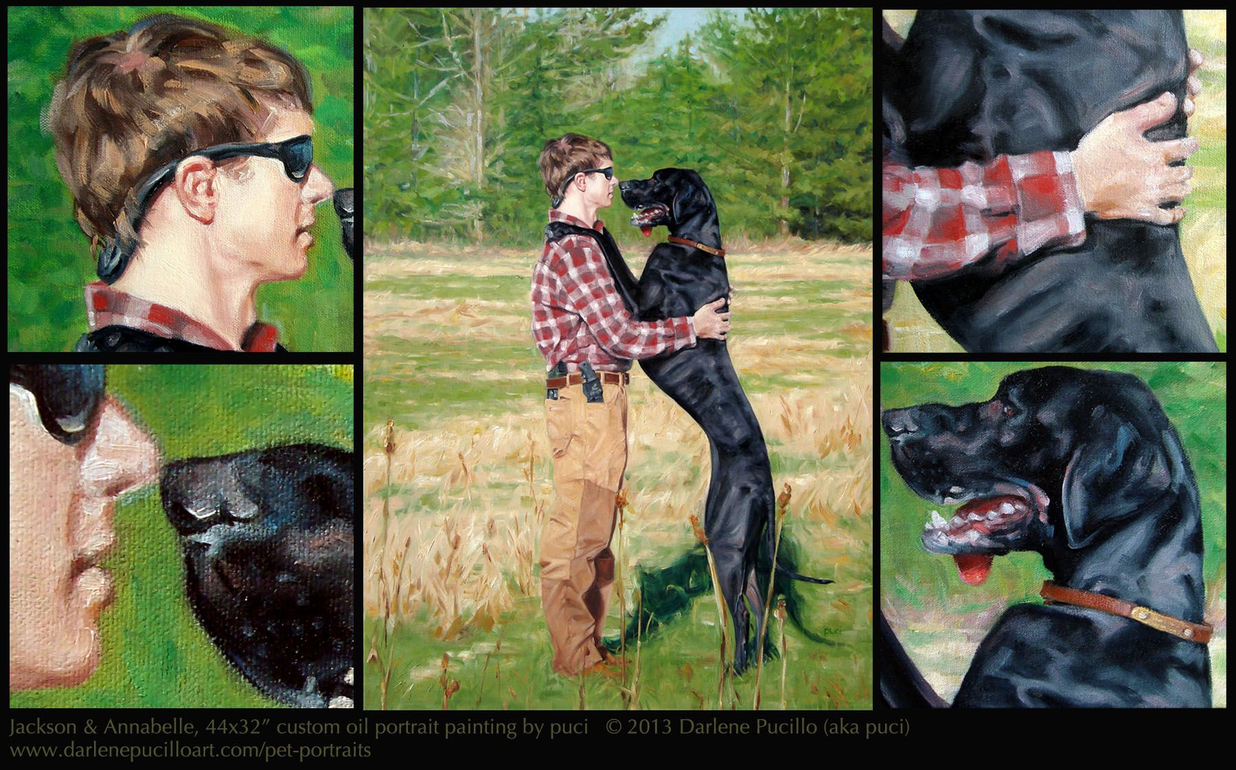Great Dane AnnaBelle with Jackson in South Carolina woods.  This is a 44x32 inch custom oil paintng by artist puci. www.darlenepucilloart.com/pet-portraits