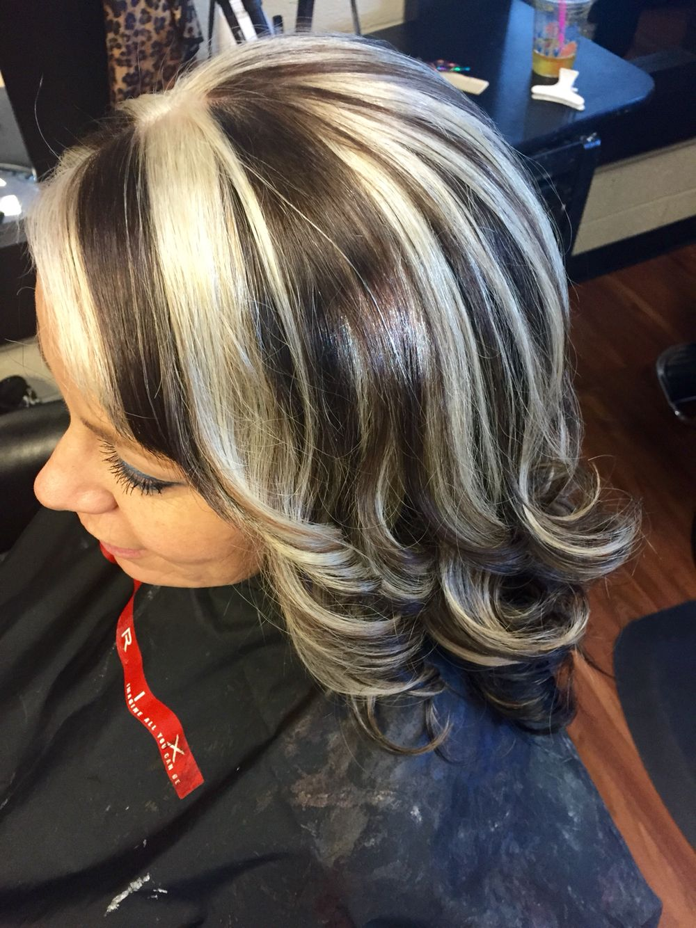 Medium Brown With Platinum Chunky Highlights Hair By