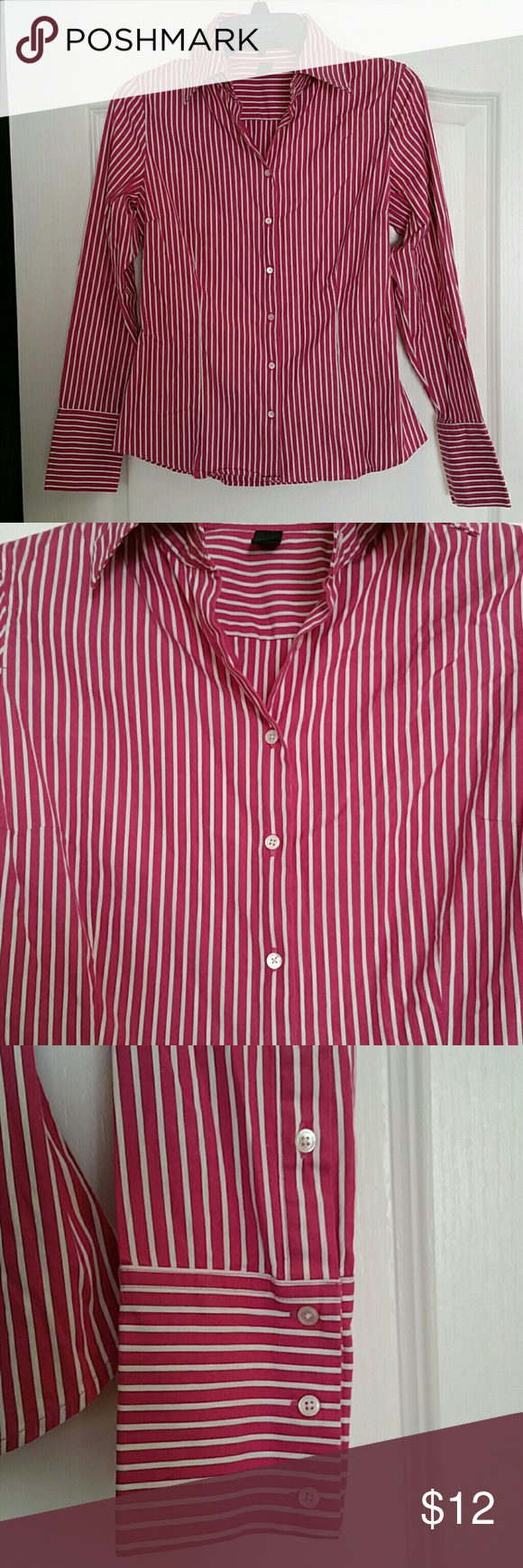 Express classic fit size 6 Long sleeves button down dress shirt in great condition. White and dark pink stripes. Buttons goes all the way up and there's 3 buttons on each sleeves. 97% cotton 3%spandex Express Tops Button Down Shirts