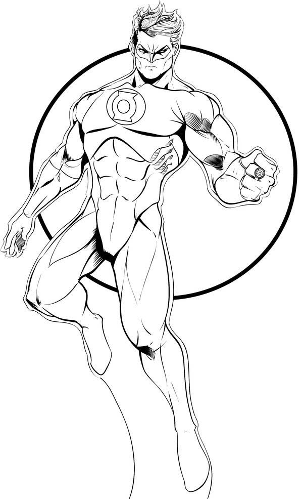 Green Lantern Flying In The Sky Coloring Page