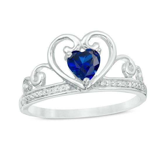 Zales 5.0mm Heart-Shaped Tanzanite and Diamond Accent Ring in Sterling Silver cV6lQ4i