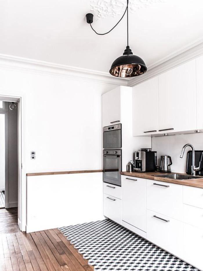 La Cuisine Blanche Et Bois En Photos Inspirantes Cuisine - Sol cuisine carreaux ciment pour idees de deco de cuisine