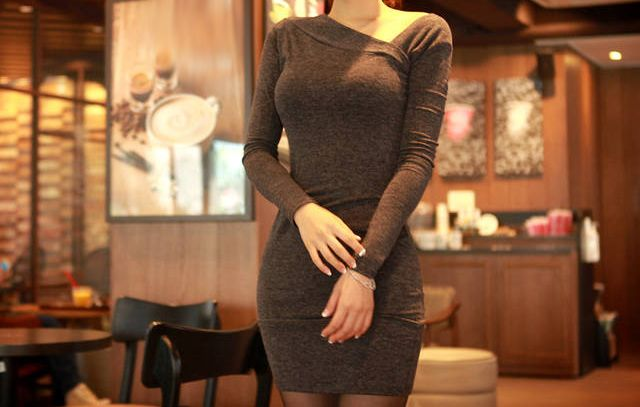 Wholesale Slimming Solid Color Long Sleeve Skew Collar Packet Buttock Knitted Dress For Women (GRAY,M), Sweater Dresses - Rosewholesale.com