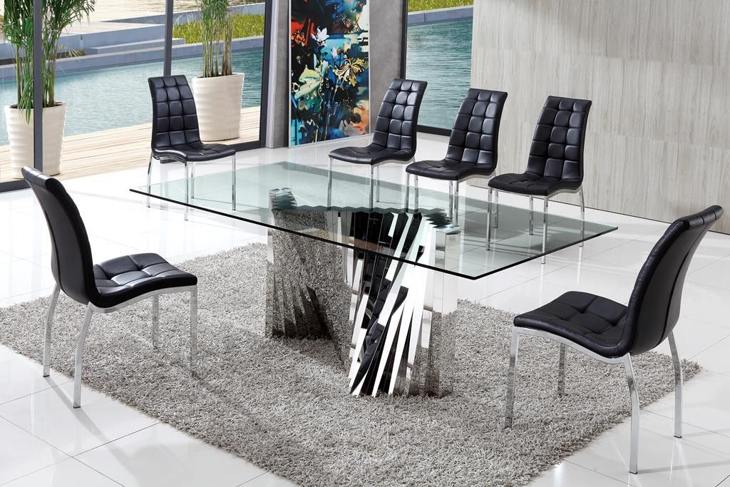 Plisset Modern Italian Designs Glass Dining Table with Akira Dining Chairs