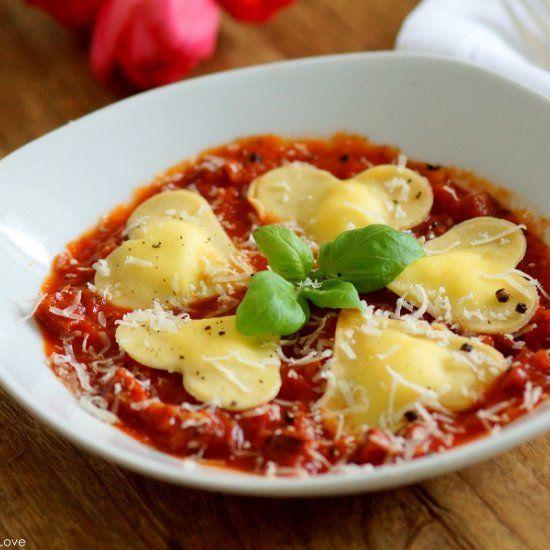 Heart Shaped Ricotta Ravioli In A Spicy Chorizo Tomato Sauce For Valentine S Day