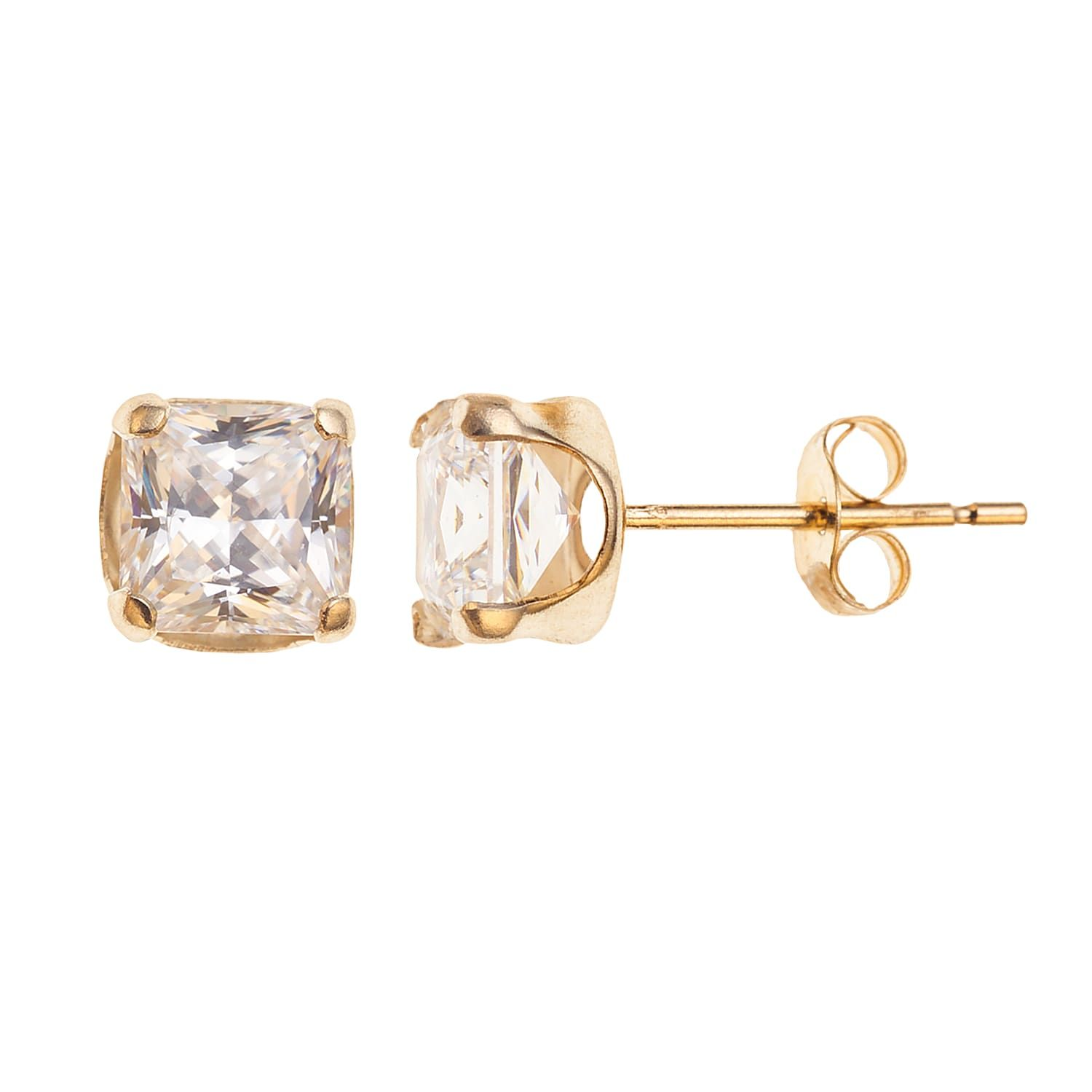 10k Gold Cubic Zirconia Square Stud Earrings Square Earrings Studs Stud Earrings Square Stud