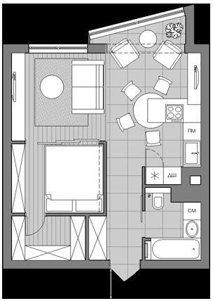 Двушка из однушки | Планы небольших квартир, Проектирование дома, План  маленького дома