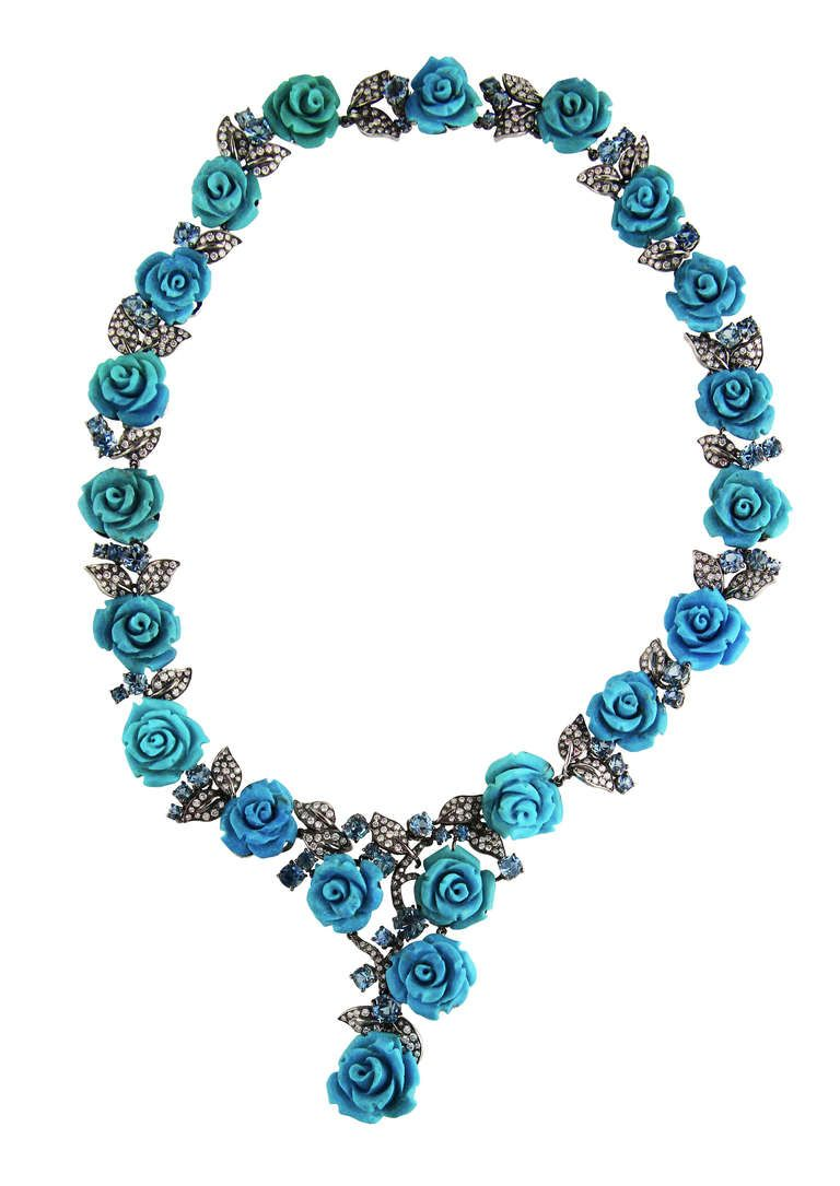 Michele della Valle Turquoise, Diamond and Aquamarine Necklace, If you like his…
