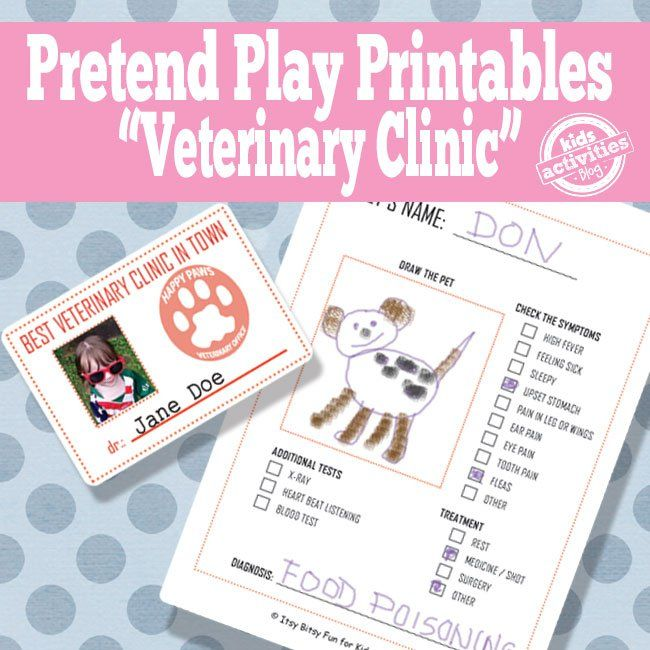 Vet Pretend Play Free Kids Printables Pretend Play Printables Printable Activities For Kids Printables Kids