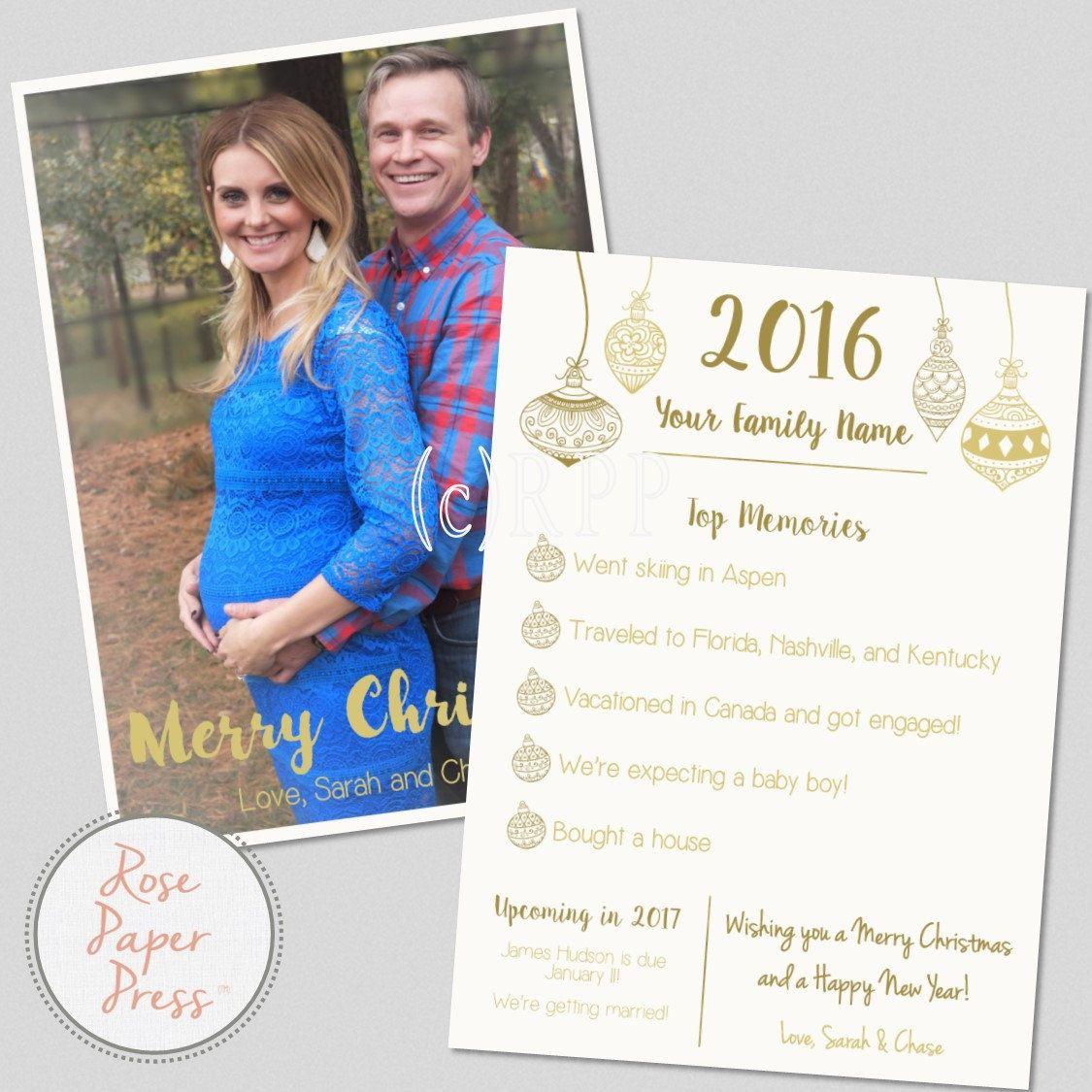 Gold Ornaments Christmas Card   Year in Review   Top Memories  Photo Holiday Card   Personalized Digital Printable File by RosePaperPress on Etsy