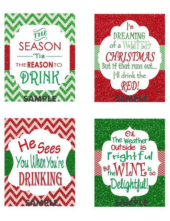 Wine Christmas Puns.Christmas Wine Label Custom Christmas Wine Label Christmas