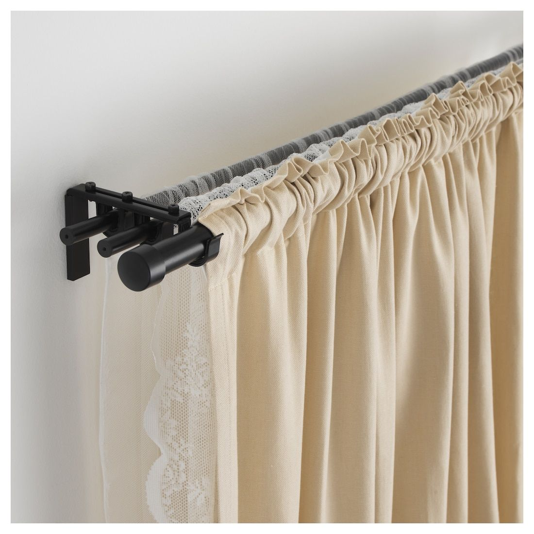 Hugad Curtain Rod Black 47 83 Double Rod Curtains Double