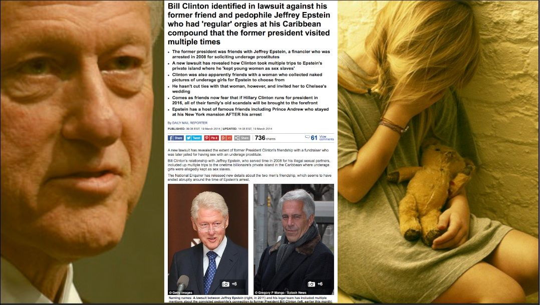 DISGUSTING: BILL CLINTON FINGERED IN CHILD SEX RING