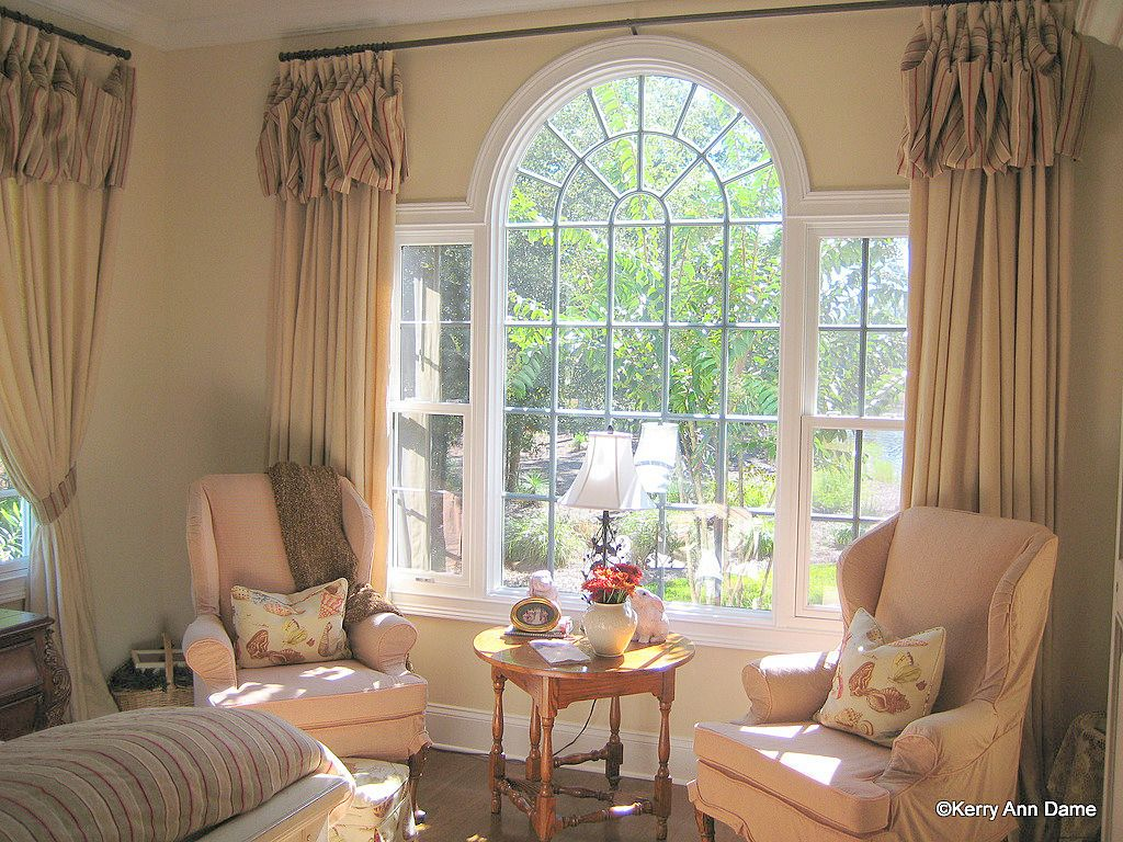 Palladian Window Linen Panels With Scarf Valance Palladian Window Arched Window Coverings Window Treatments Living Room #scarf #valances #for #living #room