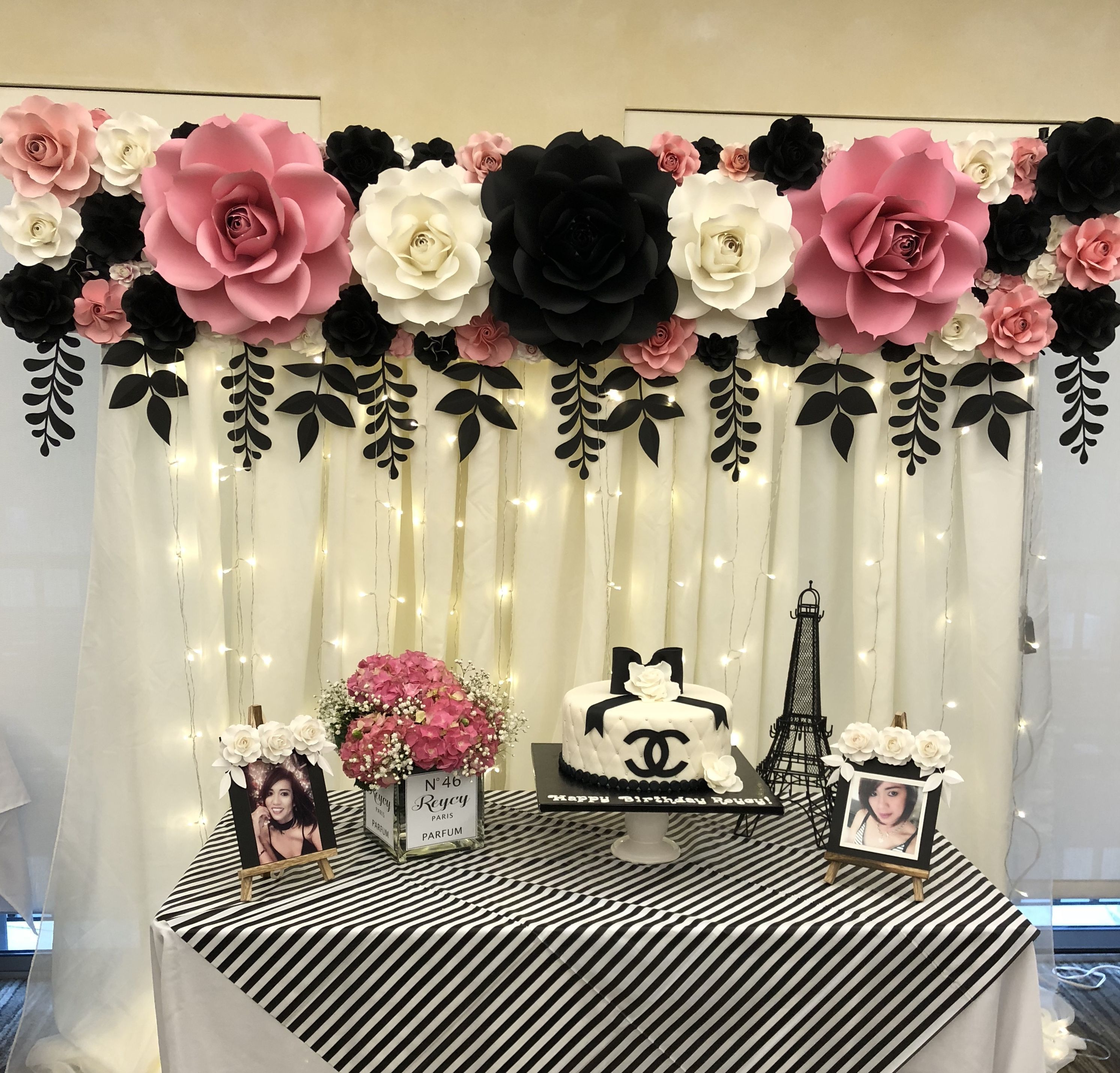 Paper Flower Backdrop Chanel Inspired Wedding Party Table Birthday Party Decorations Birthday Decorations