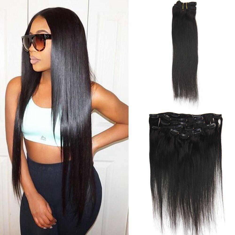 Black clip in hair extensions human hair 100g straight